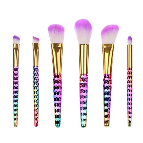 Toamen Pinceaux de Maquillage, 6 pièces/Set Brossess Fond de Teint Poudre Blush Poudre Eyeliner Contour Lustrage Correcteur (A)
