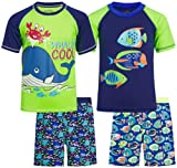 Quad Seven Boys 4-Piece Rash Guard and Trunk Swimsuit Set (Infant/Toddler/Little Boys) (Whaley Cool/Fish, 5/6)