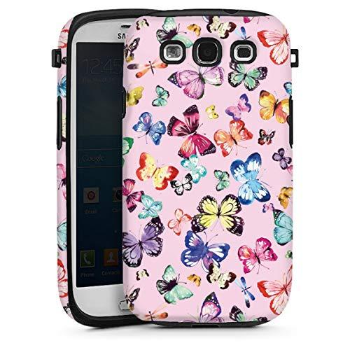 DeinDesign Panzer Handyhülle kompatibel mit Samsung Galaxy S3 robuste Outdoor Hülle Schutzhülle glänzend Schmetterling Pastell Tiere