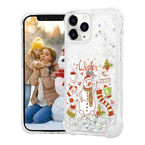 """Mavis's Diary Glitter Liquid Case for iPhone 12 Pro Max 6.7"""", Crystal TPU Soft Slim Protective Skin Cover, Bling Snowman Pattern Sparkly Shiny Cute Case for Girl Women"""