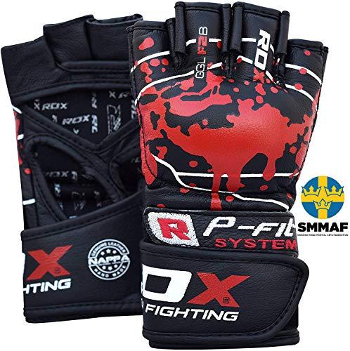 RDX MMA Guanti per Grappling Arti Marziali Allenamento | Approvato da SMMAF | Pelle di Vacchetta Kickboxing Guantoni | Grande per Muay Thai, Sacco Box