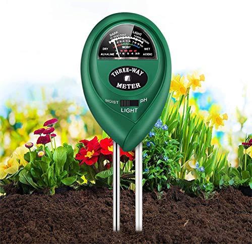 SUFUS Medidor de Suelo, Humedad del Suelo 3 en 1 Medidor de PH Medidor de Luz/Humedad/Ácido y Álcali para Plantas de Suelo/Flor/Césped en Interior o Exterior