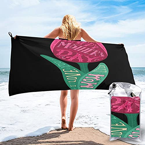 Microfiber Beach Towel,I Love You Best Mom Ever Quotes Typographical Design On , Quick Dry Super Absorbent Lightweight Oversized Large Towels Blanket for Travel Pool Swimming Bath Women Men