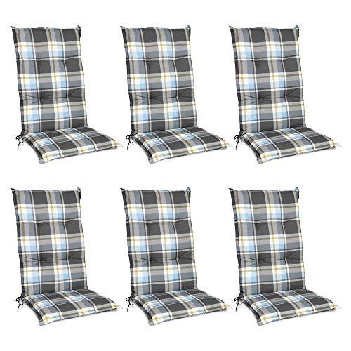 Beautissu 6er Set Sunny BK Hochlehner Auflagen Set für Gartenstühle 120x50 cm Polster in Blau Kariert - Bequeme Gartenstuhl Stuhlkissen Polsterauflagen mit UV-Lichtecht