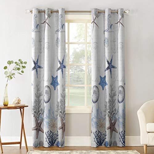 SODIKA Window Treatment Grommet Curtain Draperies,Window Curtain Panels for Bedroom Living Room Kitchen Home Decoration,Starfish Seashell Anchor Marine Elements 2 Panels 40x63 Inch