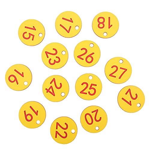 Meiyya Etiqueta numerada para Ganado, Liviana, Segura y sólida, Colores Brillantes Etiqueta numerada Resistente, para la cría de Animales de Apicultura(Red, 1-50/bag)