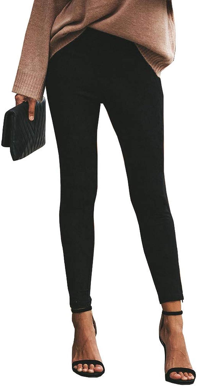 Ybenlow Womens Strech Faux Suede Elastic Waist Slim Fit Ankle Zip Pencil Pants Leggings