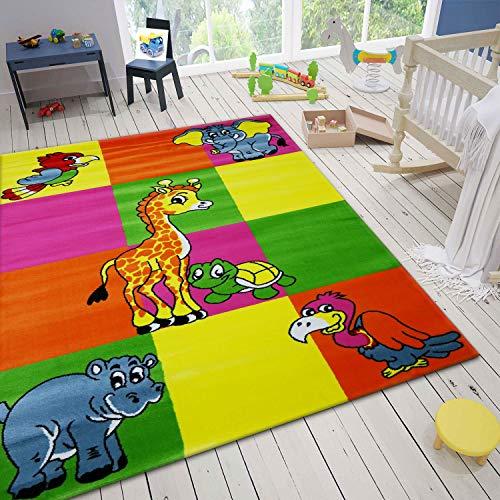 Kinder Teppich Bunt Kinderzimmer Giraffe Geier Schildkröte Nilpferd Elefant Vogel, Maße:80 x 150 cm
