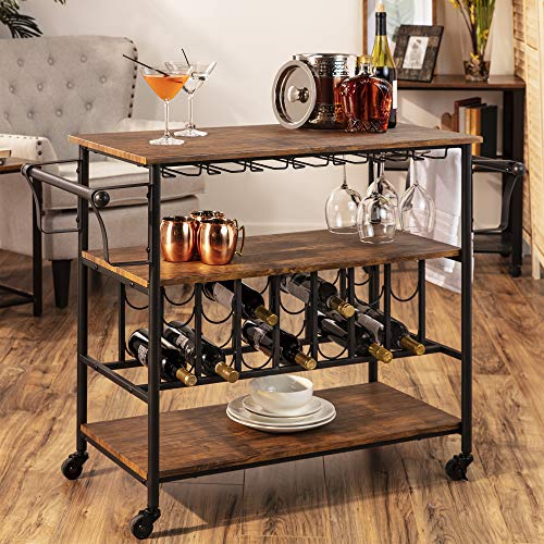 Best Choice Products 45in Industrial Wood Shelf Bar & Wine Storage Service Cart w/Bottle & Glass Racks, Locking Wheels