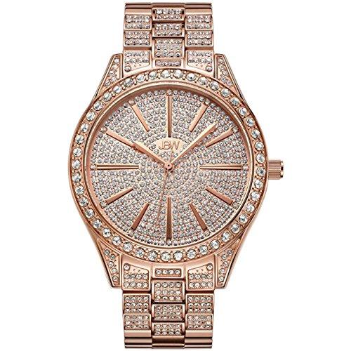 JBW Luxury Women's Cristal 0.12 Carat Diamond & Swarovski Crystal Wrist Watch with Stainless Steel Link Bracelet