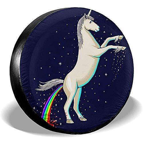 Rainbow Unicorn Zonnescherm, niet geschikt voor wieltjes, banden, diameter voor RV, Trailer, SUV, verschillende voertuigen 16in/76~79cm 4 X 100 M