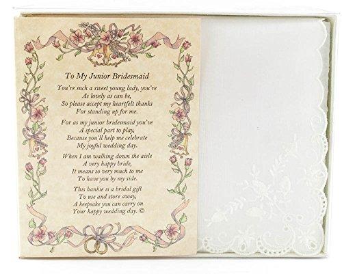 Wedding Handkerchief Poetry Hankie (For Bride's Junior Bridesmaid) White, Lace Embroidered Bridal Keepsake, Beautiful Poem | Long-Lasting Memento for the Bride's Junior Bridesmaid | Includes Gift Box