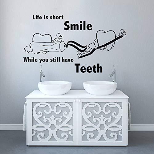 JXGG Zähne waschen Vinyl Wandtattoos Dental Sims Zitat Wand Poster niedlich Zahn waschen Vinyl Aufkleber Home Badezimmer Dekoration 74x42 cm