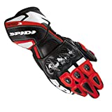Motorbike Motorcycle Spidi IT Carbo 3 Leather Gloves Leather Racing Sports With Carbon Knuckle Armour Glove-Black/Red-Special Order - Red - S