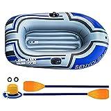 ZLZNX Bote de Pesca Inflable, Kayak Inflable 140kg Capacidad de Carga Canoa Inflable Kayak de Dos Personas con Bomba de Pie Inflable y Bote de Remos para Deportes AcuáTicos Pesca en Piscina