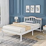 Elegante cama individual de madera con cabecero y somier de madera de pino, cama infantil, cama juvenil, cama de invitados en color blanco (90 x 200 cm)