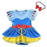 IZKIZF Baby Girls Snow White Birthday Princess Halloween Costume Bodysuit Romper Tutu Dress with Headband 6-9M