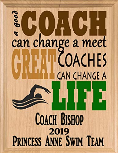 Broad Bay Swim Coach Gifts Personalized Coaches Gift Swimming Team Appreciation Thank You Plaque