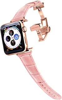 Longvadon Women`s Caiman Series Watch Band - Compatible with Apple Watch 42MM (Series 1-3) & 44MM (Series 4-5) - Genuine Top Grain Leather - Glossy Pink with Gold Details - M Size