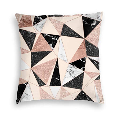 Feamo Modern Black White Marble Blush Pink Rose Gold Velvet Soft Decorative Square Throw Pillow Covers Cushion Case Pillowcases for Sofa Chair Bedroom Car 18X18inch