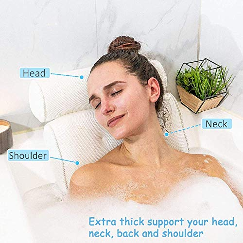 Idle Hippo Bath Pillow Bathtub Spa Pillow with 6 Upgraded Non-Slip Suction Cups, Extra Thick Bathtub Cushion for Head, Neck, Back and Shoulder Support, Fits Jacuzzi