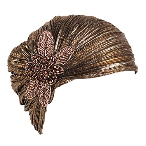 MoreChioce Turbante indio para mujer, estilo vintage de los años 20, con cristales, retro, elástico, para la cabeza, dorado, talla única
