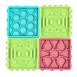 <span class='highlight'><span class='highlight'>LISRUI</span></span> Pet Slow Food Mat Set Dog Slow Feeder Bowl, Dog Lick Tray with Suction Cup Slow Feeder Food Bowl for Dog/Cat Training Bathing Grooming Red   Blue   Green 4 Pieces