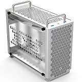 A4 Compact ITX PC Case A50 G5 K55 SFX Computer Case Aluminum Mini-ITX Small Computer Case Test Bench Mini Computer Host Tempered Acrylic Side Panel B2