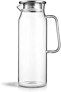 XIAOHU GE Glass Pitcher Pot With Lid Iced And Handle Borosilicate Heat-Resistant Glass Jug For Tea/Hot And Cold Water/Ice Wine Coffee Milk