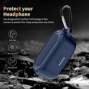 WQNIDE for Bose QuietComfort Earbuds Silicone Case, Soft and Flexible,Scratch Shock Resistant Cover for True Wireless Bluetooth Earphones with Carabiner (Blue)