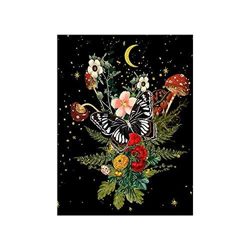 RUMUI Tapiz de Fase Lunar Seta Flor Vid Colgante de Pared Arte estético Fondo Negro Tela decoración del Dormitorio Pintura 150x100cm