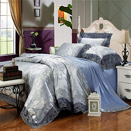 YIEBAI, 4-Pieces Green Luxury Bedding Set Bed Set Jacquard Lace Duvet Cover Bed Sheet Bed Linen,6,Queen Size 4pcs