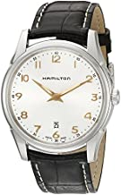 Hamilton Men's 'Jazzmaster' Quartz Stainless Steel and Leather Watch, Color:Brown (Model: H38511513)