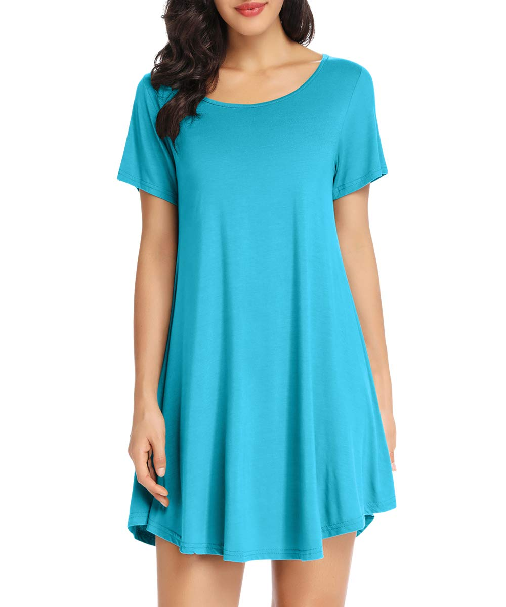 Available at Amazon: LATWIIV Women's Loose Swing Casual Flare Dress Short Sleeve Summer Tunic Top T-Shirt Dresses