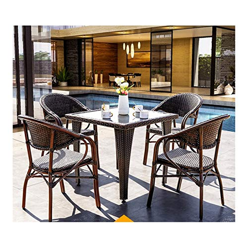 HLZY Conjunto de Muebles de Patio y Silla de Mimbre Rattan, Muebles de Patio Conjuntos de Mesa de...