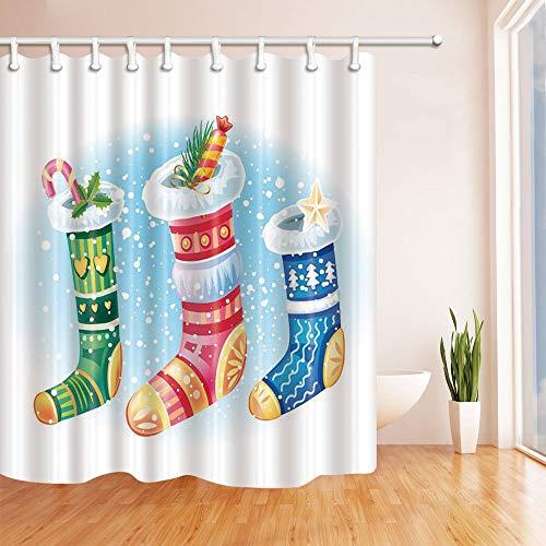 mintlmk Nieuwjaar douchegordijnen voor badkamer cartoon snoep stok in kerst sokken voor kinderen polyester stof waterdichte bad gordijn douchegordijn haken inbegrepen 71X71in