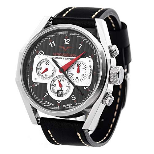 POLJOT UMNYASHOV Herrenuhr Chronograph 31681 Handaufzug russische mechanische Uhr aus Russland mit aufaddierender Stoppuhr und Kalender