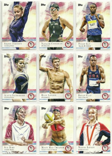 2012 Topps USA Olympic Team and Hopefuls Complete Mint 100 Card Set Hand Collated Set; It Was Never Issued in Factory Form. Loaded with Our Top Athletes Including Missy Franklin, Michael Phelps, Ryan Lochte, Hope Solo, Abby Wambach, Shawn Johnson, Tyson Gay, Sue Bird, Misty May-treanor, Candace Parker, Maya Moore, Alicia Sacramone and Many Others!