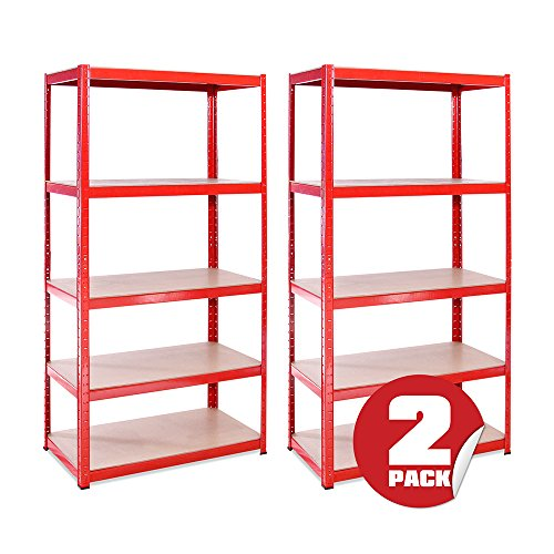 Garage Shelving Units: 180cm x 90cm x 45cm | Heavy Duty Racking Shelves for Storage - 2 Bay, Red 5 Tier (265KG Per Shelf), 1325KG Capacity | For Workshop, Shed, Office | 5 Year Warranty