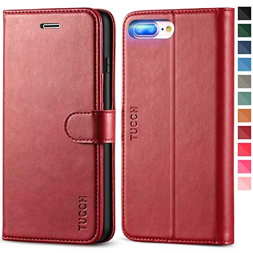 TUCCH iPhone 7 Plus Hülle, iPhone 8 Plus Handyhülle, Lederhülle [Schützt vor Stößen] [Verdicktes TPU] [Aufstellfunktion] [Kartenfach], Klappbare Schutzhülle Kompatibel für iPhone 7/8 Plus (5,5) Rot