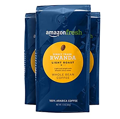 AmazonFresh Direct Trade Rwanda Whole Bean Coffee, Light Roast, 12 Ounce (Pack of 3)