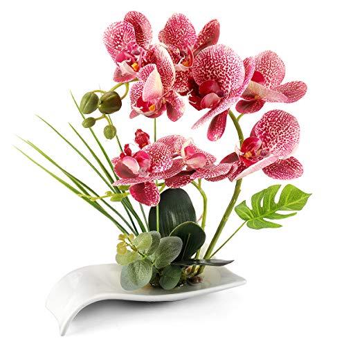 Yobansa Dekorative echte Berührung gefälschte Orchidee Bonsai künstliche Blumen mit Imitation Porzellan Blumentöpfe Phalaenopsis Blumenarrangements für Home Decoration (Pink)