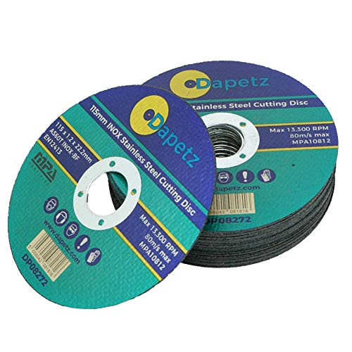 Dapetz  Cut Off Wheels, 10 Packs Metal & Stainless Steel Cutting Discs, 115mm x 1.2mm x 22mm, for Angle Grinders