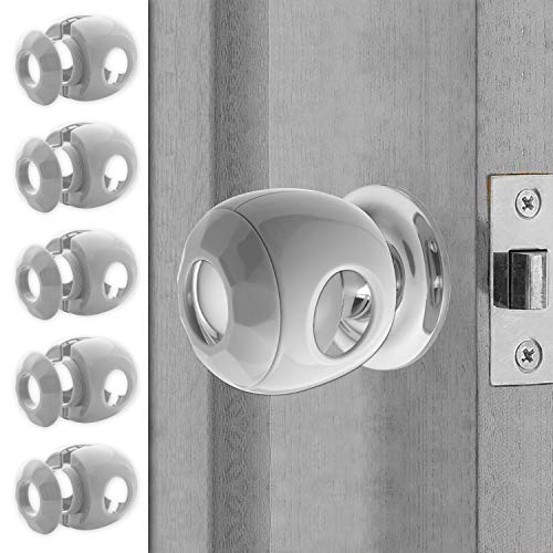 Door knob Baby Safety Cover - 5 Pack - Deter Little Kids from Opening Doors with A Child Proof Door Handle Lock - Diddle