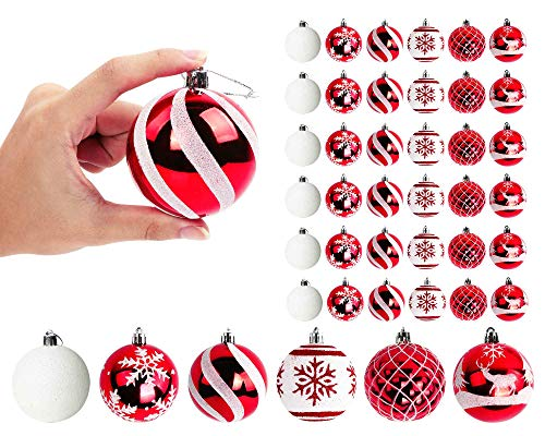 OurWarm 36ct Christmas Ball Ornaments Shatterproof Christmas Tree Decorations Balls Large 70mm/2.76' for Christmas Tree Holiday Wedding Party Decorations (Red and White)