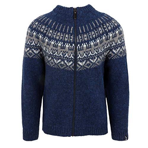 ICEWEAR Elis Men's Sweater Lopapeysa Design 100% Icelandic Wool Long Sleeve Winters Full Zip Sweater | Blue - XL