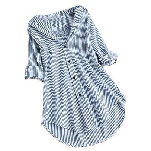 Oversize T-shirt voor dames, elegant katoen, chic, strepen, lange mouwen, revers, knopen, blouse, shirt, losse streetwear, sport, bovenstuk, vintage sweatshirt, tienermeisjes, tuniek, lange tops met flowy hoge zoom