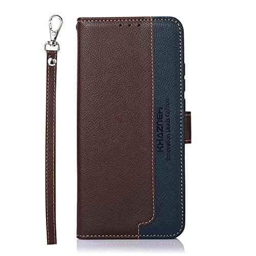 NEINEI Hülle für Oppo Find X3 Neo,Premium Leder Handyhülle Tasche mit [Handschlaufe][RFID Schützt][Magnetisch],TPU/PU Farbkontrast Design Flip Cover Hülle,Braun