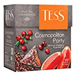 Herbal tea TESS cosmopolitan party cranberry and hibiscus grapefruit Beverages Grocery Gourmet Food [20 pyramids of tea bags in 1 PACK]