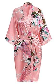 USDisc t Elegant Women s Kimono Robe for Parties Bridal and Bridesmaid Short  M Magenta